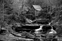 Glade Creek Grist Mill and Fall Foliage - B+W