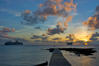 Grand Cayman sunset with cruise ships