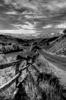 Fence on Gros Ventre Road - B+W