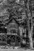 Glade Creek Grist Mill Vertical - B+W
